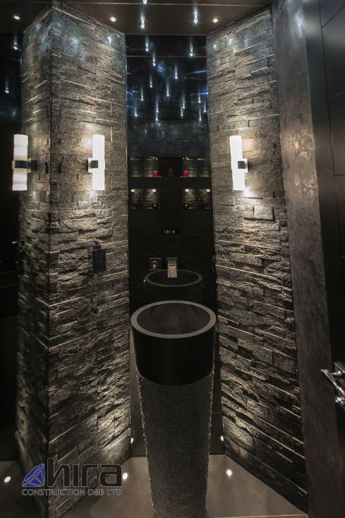 Free standing black marble pedestal sink bathroom 90 cm x